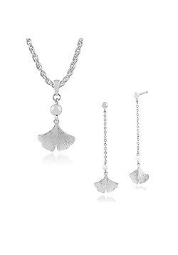 Gemondo 925 Sterling Silver Ginkgo Flower Pearl Drop Earring & 45cm Necklace Set