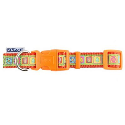 Ancol Orange Squares Adjustable Collar - 20cm-30cm