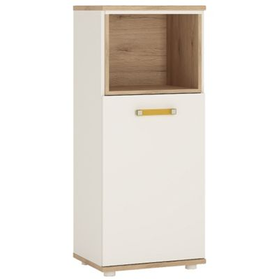 4KIDS 1 door narrow cabinet with open shelf in light oak and white high gloss with orange handles
