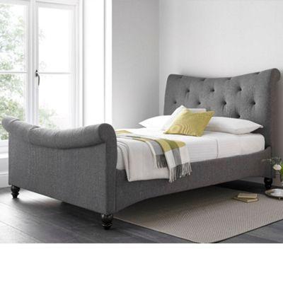 Happy Beds Tyne Elephant Grey Fabric Sleigh Bed - Double (4'6)