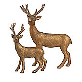 Set of 2 Copper Polyresin Standing Stag Christmas Ornaments