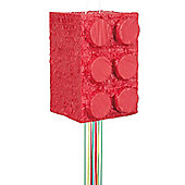 Red Building Block 3D Pull Pinata