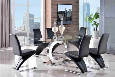 Channel Glass and Polished Stainless Steel 160 cm Dining Table with 6 Black Zed Chairs