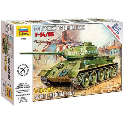 ZVESDA 5039 Soviet Medium Tank T-34/85 WWII 1:72 Snap Fit Model Kit