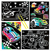 Racing Car Scratch Art Scenes for Children to Design Make and Display - Creative Picture Craft Set for Kids (Pack of 6)
