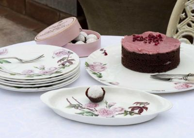 Roy Kirkham Cake Serving Tableware Set 8 Piece, David Austen English Rose Design 38904