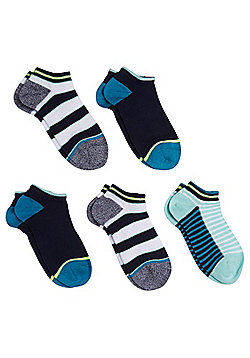 F&F 5 Pair Pack of Striped Trainer Liners - Multi