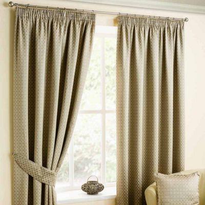 Homescapes Natural Colour Pencil Pleat Curtains with Bronze Diamond Detailing 90x54