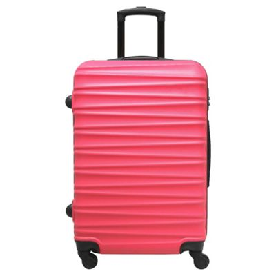 Buy Tesco Ibiza 4 Wheel Hard Shell Hot Pink Large Suitcase from ...