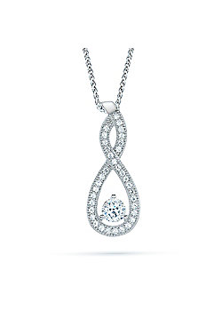 REAL Effect Rhodium Plated Sterling Silver White Cubic Zirconia TearDrop Twist Charm Pendant - 16/18 inch