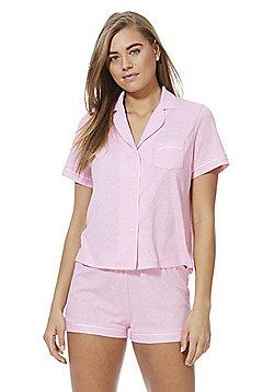 F&F Jersey Revere Collar Pyjamas - Pink