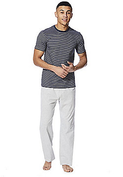 F&F Striped Marl Loungewear Set - Navy & Grey