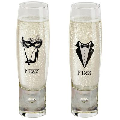 Durobor Gentlemen's and Ladies' Fizz Champagne Glasses - 150ml - Set of 2 Flutes