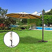 Outsunny 3M Patio Parasol Cantilever Hanging Sun Shade Tilt Crank 360 Degree Rotating