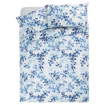 Tesco soft floral duvet set DB blue