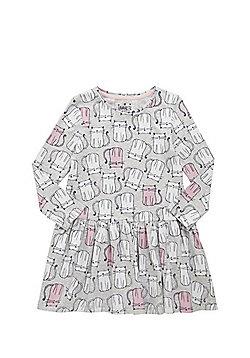F&F Cat Print Flared Dress - Grey
