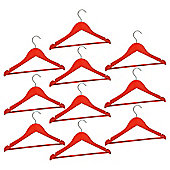 Harbour Housewares Pack of 10 Red Childrens Wooden Clothes / Coat Hangers