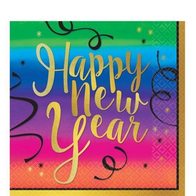Colourful New Year Lunch Napkins - 2ply Paper