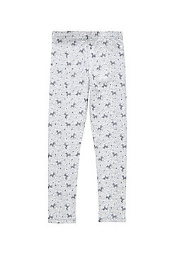 F&F Glitter Unicorn Print Leggings - Marl grey