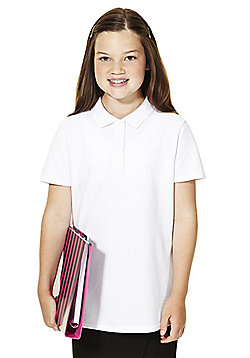 F&F School 2 Pack of Girls Stain Resistant Pique Polo Shirts with As New Technology - White