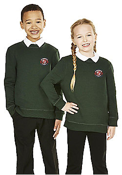 Unisex Embroidered Cotton Blend School Sweatshirt with As New Technology - Green