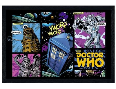 Black Wooden Framed Dr Who Comicbook Style Poster