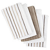 Neutral Stripe 5 Piece Tea Towels