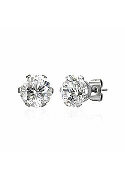 Urban Male Stainless Steel Round White CZ Stud Earrings For Men 8mm