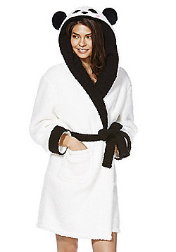 F&F Panda Hood Fleece Dressing Gown - Cream