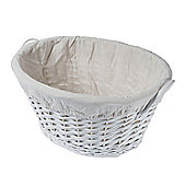 Homescapes White Oval Willow Wicker Linen Basket with White Lining
