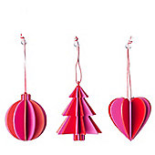 Set Of Three Pink And Orange Christmas Tree Decorations