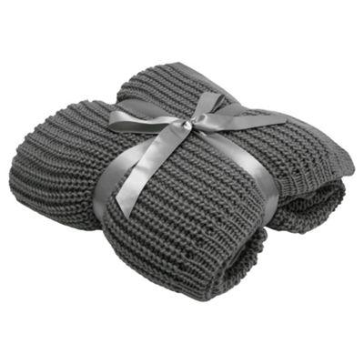 Tesco Chunky Knit Throw Grey