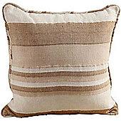 Homescapes Cotton Morocco Striped Beige Prefilled Cushion, 45 x 45 cm