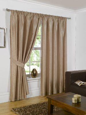 Faux Silk Eyelet Curtains, Latte 168x183cm