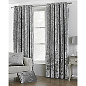 Riva Home Crushed Velvet Verona Eyelet Curtains - Silver