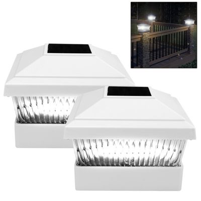 2 x Solar Powered White Led Outdoor Garden Post Deck Cap Square Fence Lights