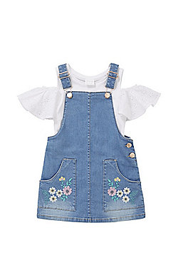F&F Cold Shoulder T-Shirt and Denim Pinafore Set - White/Blue