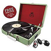 GPO Attache Case Portable Briefcase Turntable, Apple Green