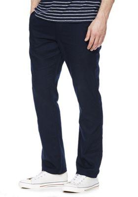 F&F Linen-Mix Straight Leg Trousers Navy Blue 28 Waist 32 Leg