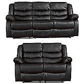 Sofa Collection Windermere 3+2 Recliner Sofa Set - Black