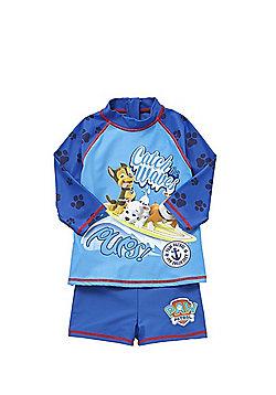 Nickelodeon Paw Patrol Slogan UPF 50+ Rash Vest and Shorts Set - Blue