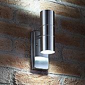 Auraglow Dusk Till Dawn Sensor Stainless Steel Up & Down Outdoor Wall Light - Cool White