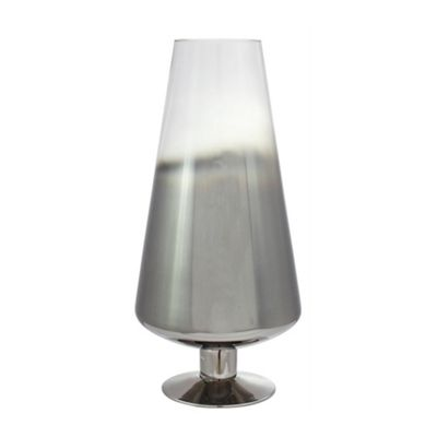 Smoked Glass Cone Stemmed Vase