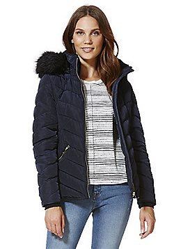 F&F Faux Fur Trim Shower Resistant Padded Jacket - Navy