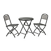 Cafe Espresso Folding Mesh Garden Bistro Set, Graphite Grey