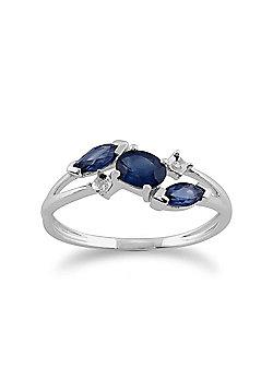 Gemondo 9ct White Gold 0.78ct Blue Kanchanaburi Sapphire & Diamond Ring