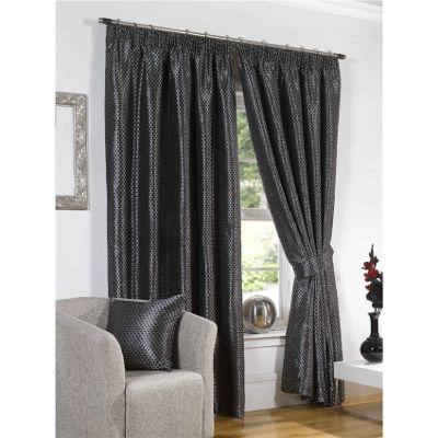 Venice Pencil Pleat Curtains 117 x 137cm - Black