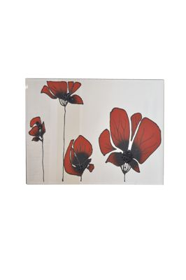 Large Quad Red Poppies Framless Glass Wall Mirror 3Ft11 X 2Ft8 (120 X 80Cm) New