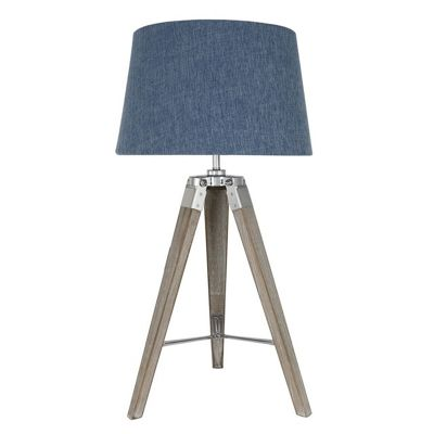 Natural Grey Hollywood Table Lamp With Square Blue Linen Shade