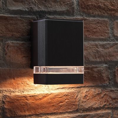 Auraglow Modern Indoor / Outdoor Up or Down Garden Wall Light - Black - Warm White LED Bulbs Included
